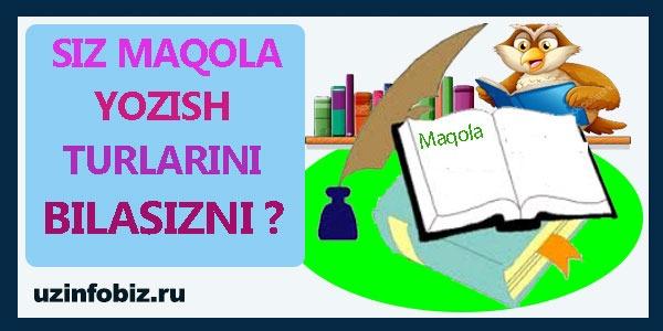 Blogga maqola yozishning 4 xil usuli !!!
