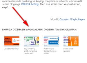 WordPressda saytga(blogga) o'xshash maqolalar ro'yxatini o'rnatish