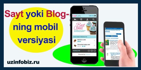 Sayt yo blogning mobil versiyasini tayyorlash