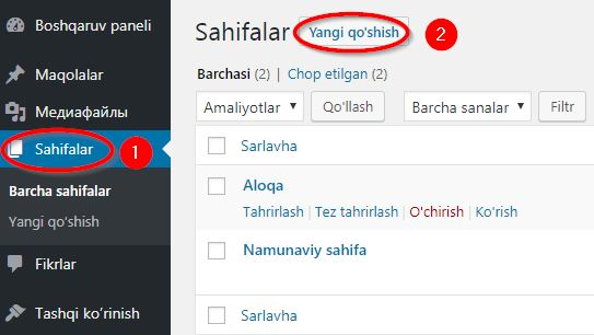 Sahifa yaratish