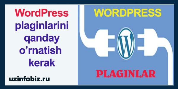 Wordpress saytga plagin o'rnatish