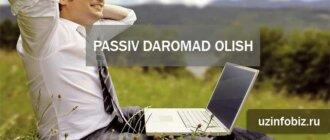 passiv daromadni yo'lga qo'yish